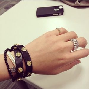 Tory Burch Black Stud Logo Leather Wrap Bracelet